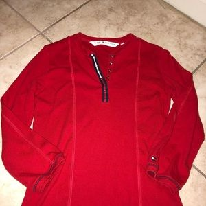 Red Tommy Hilfiger Snap Button Top